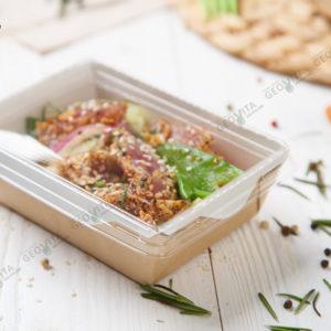 Коробка с прозрачным верхом 500 мл. © GEOVITA - Одноразовая посуда от производителя!