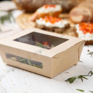 Бумажный ланчбокс 600 мл. © GEOVITA - Одноразовая посуда от производителя!