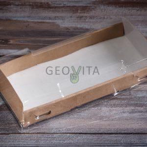 Коробка с прозрачной крышкой средний © GEOVITA - Одноразовая посуда от производителя!