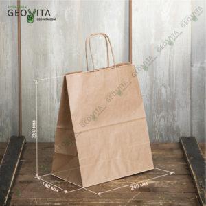 Бумажный пакет с ручками 240*140*280 © GEOVITA - Одноразовая посуда от производителя!