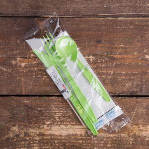 Набор одноразовых приборов 5/3 бол. зеленый «все в одном» +соль/перец © GEOVITA - Одноразовая посуда от производителя!