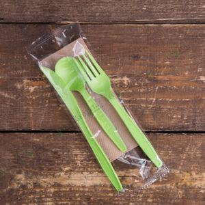Набор приборов 5/3 бол. зеленый «все в одном» © GEOVITA - Одноразовая посуда от производителя!