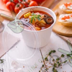 Чаша 450 мл. с крышкой © GEOVITA - Одноразовая посуда от производителя!