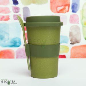 Стакан для кофе с ложкой © GEOVITA - Одноразовая посуда от производителя!