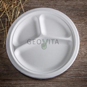 Одноразовая тарелка 9.5″ — 3 секции © GEOVITA - Одноразовая посуда от производителя!