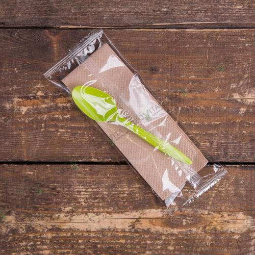 Набор одноразовых приборов 2/1 мал. зеленый «ложка + салфетка»