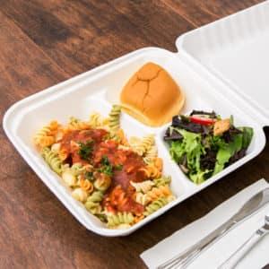 Одноразовый ланч-бокс 1000 мл 3 секции © GEOVITA - Одноразовая посуда от производителя!