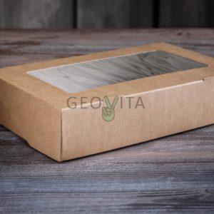 Одноразовый ланч-бокс 1000 мл. самосборный © GEOVITA - Одноразовая посуда от производителя!