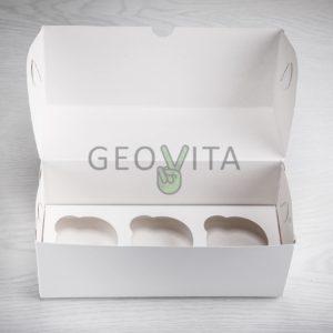 Коробка для 3х. капкейков © GEOVITA - Одноразовая посуда от производителя!