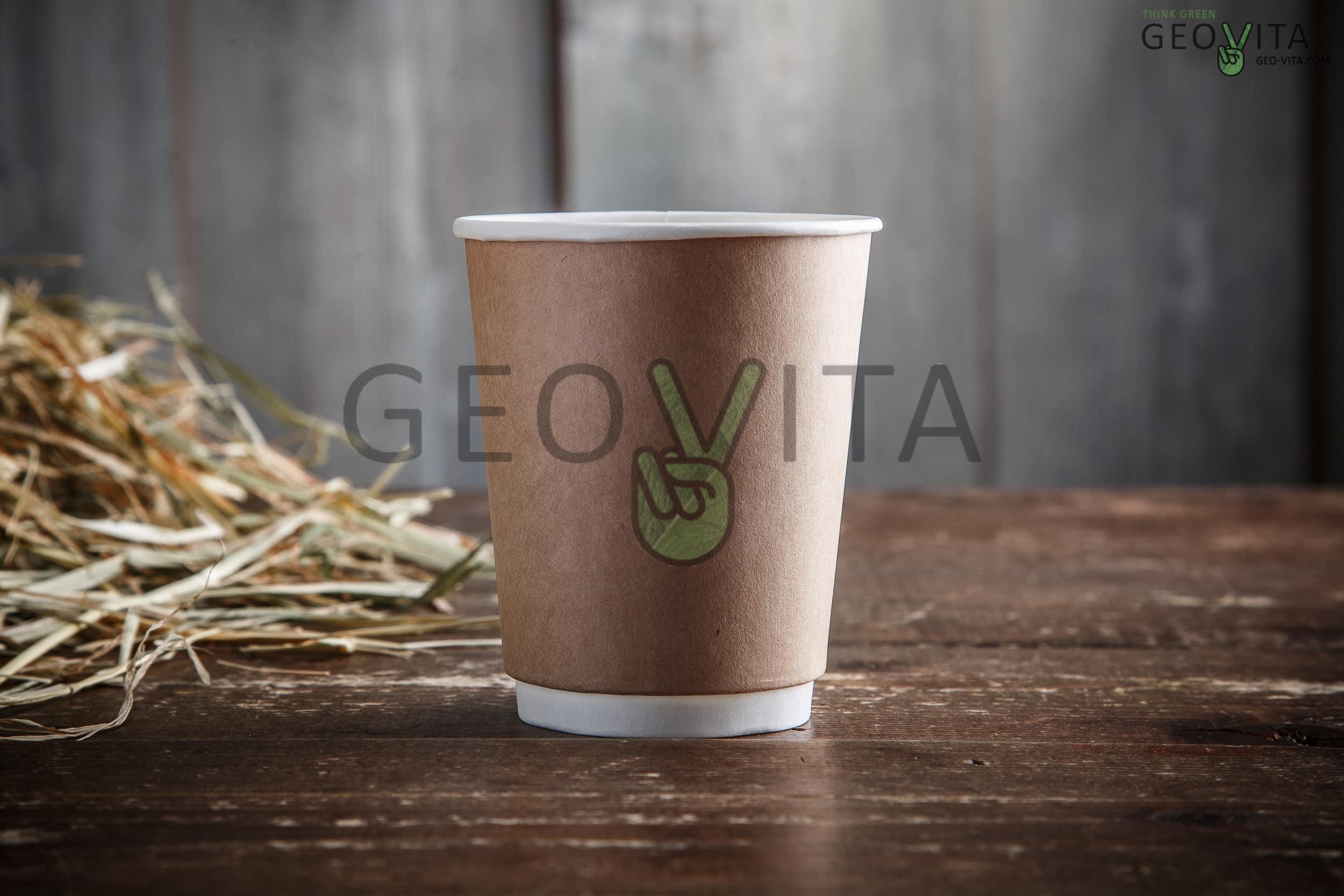 Стакан одноразовый двухслойный для кофе 250 мл © GEOVITA - Одноразовая посуда от производителя!
