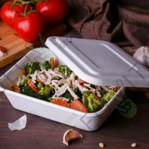 Одноразовый контейнер 900 мл. с крышкой © GEOVITA - Одноразовая посуда от производителя!