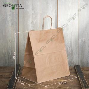 Бумажный пакет с ручками 320*200*370 © GEOVITA - Одноразовая посуда от производителя!