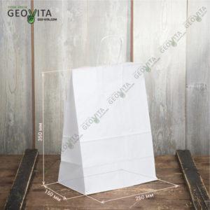 Бумажный пакет с ручками 260*150*350 © GEOVITA - Одноразовая посуда от производителя!