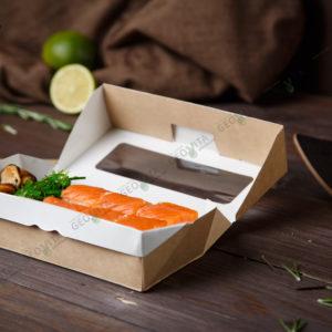 Бумажный контейнер 500 мл. самосборный © GEOVITA - Одноразовая посуда от производителя!
