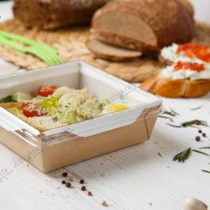 Ланчбокс с крышкой 900 мл. © GEOVITA - Одноразовая посуда от производителя!