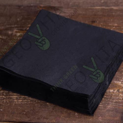 Бумажная салфетка 33*33 1 слойная черная ПРЕМИУМ