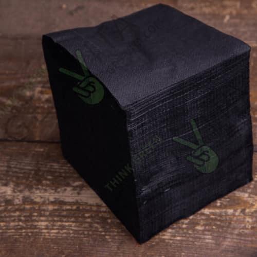 Бумажная салфетка 24*24 1 слойная черная ПРЕМИУМ