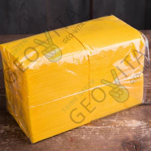 Бумажная салфетка ЭКОНОМ 24*24 1 слойная желтая ЭКОНОМ
