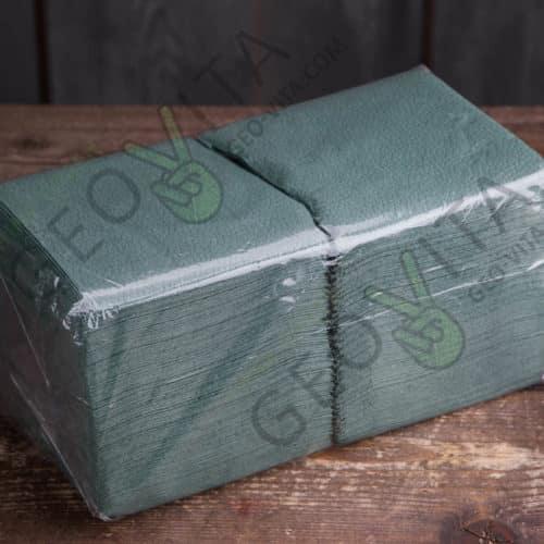 Бумажная салфетка 24*24 1 слойная зеленая ЭКОНОМ