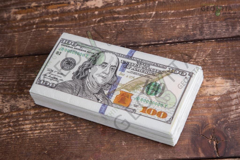 Бумажная салфетка «доллар» двухслойная