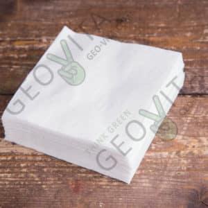 Бумажная салфетка 24*24 1 слойная белая ПРЕМИУМ © GEOVITA - Одноразовая посуда от производителя!
