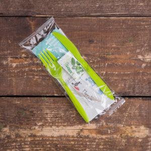 Набор одноразовых приборов 4/2 мал. зеленый «вилка/нож» + соль/перец/жвачка/вл.салфетка © GEOVITA - Одноразовая посуда от производителя!