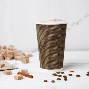 Стакан одноразовый рифленый для кофе 480 мл. © GEOVITA - Одноразовая посуда от производителя!