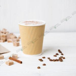 Стакан одноразовый гофрированный для кофе 360 мл. © GEOVITA - Одноразовая посуда от производителя!