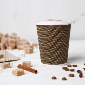 Стакан одноразовый гофрированный для кофе 250 мл. © GEOVITA - Одноразовая посуда от производителя!