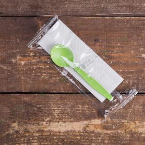 Набор одноразовых приборов 2/1 бол. зеленый «ложка + салфетка» © GEOVITA - Одноразовая посуда от производителя!