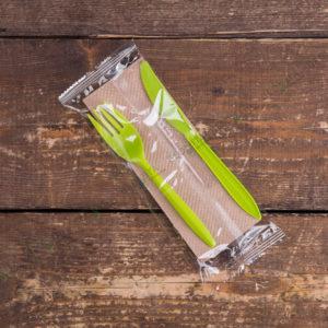 Набор одноразовых приборов 4/2 мал. зеленый «вилка/нож» © GEOVITA - Одноразовая посуда от производителя!