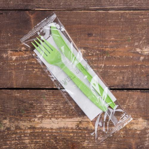 Набор одноразовых приборов 4/2 бол. зеленый «вилка/нож»