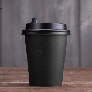 Бумажный стакан 250 мл. черный © GEOVITA - Одноразовая посуда от производителя!