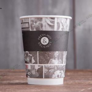 Бумажный стакан Huhtamaki CAFE NOIR 400 мл. © GEOVITA - Одноразовая посуда от производителя!