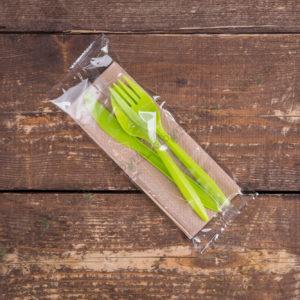 Набор одноразовых приборов 5/3 мал. зеленый «все в одном» © GEOVITA - Одноразовая посуда от производителя!