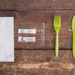 Набор одноразовых приборов 4/2 мал. зеленый «вилка/нож» + соль/перец