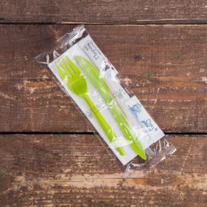 Набор одноразовых приборов 4/2 мал. зеленый «вилка/нож» + соль/перец © GEOVITA - Одноразовая посуда от производителя!