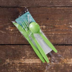 Набор приборов 5/3 бол. зеленый «все в одном» +вл. салфетка © GEOVITA - Одноразовая посуда от производителя!