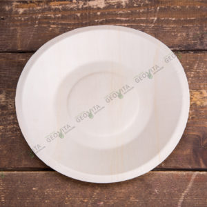 Деревянная тарелка круглая © GEOVITA - Одноразовая посуда от производителя!