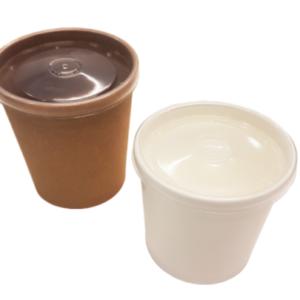 Бумажный контейнер для супа 350 мл. с пластиковой крышкой © GEOVITA - Одноразовая посуда от производителя!