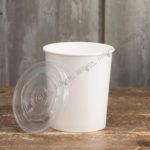 Бумажный контейнер для супа с прозрачной крышкой