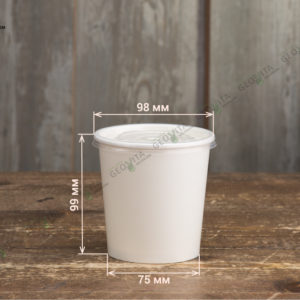 Бумажный контейнер для супа с пластиковой крышкой © GEOVITA - Одноразовая посуда от производителя!