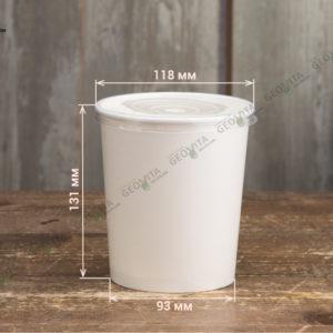 Бумажный контейнер для супа с прозрачной крышкой © GEOVITA - Одноразовая посуда от производителя!