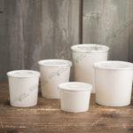 Бумажный контейнер для супа 340 мл. с пластиковой крышкой