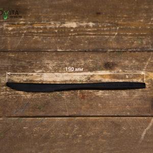 Одноразовый BIO нож черный © GEOVITA - Одноразовая посуда от производителя!
