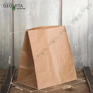 Бумажный пакет 320*200*340 © GEOVITA - Одноразовая посуда от производителя!