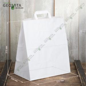 Бумажный пакет с пл. ручками 320*200*370 © GEOVITA - Одноразовая посуда от производителя!