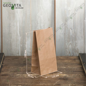Крафт пакет 120*80*240 © GEOVITA - Одноразовая посуда от производителя!