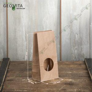 Крафт пакет с окном 120*80*250 © GEOVITA - Одноразовая посуда от производителя!