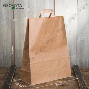 Бумажный пакет с пл. ручками 350*150*450 © GEOVITA - Одноразовая посуда от производителя!